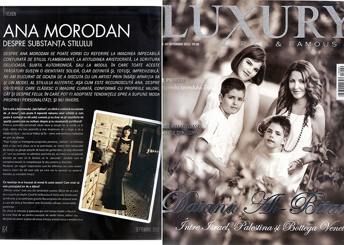 2013, September - Luxury Magazine - Ana Morodan 1