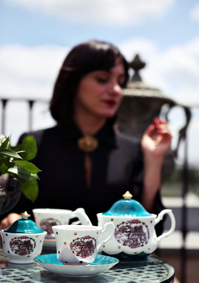 Ana and her tea set