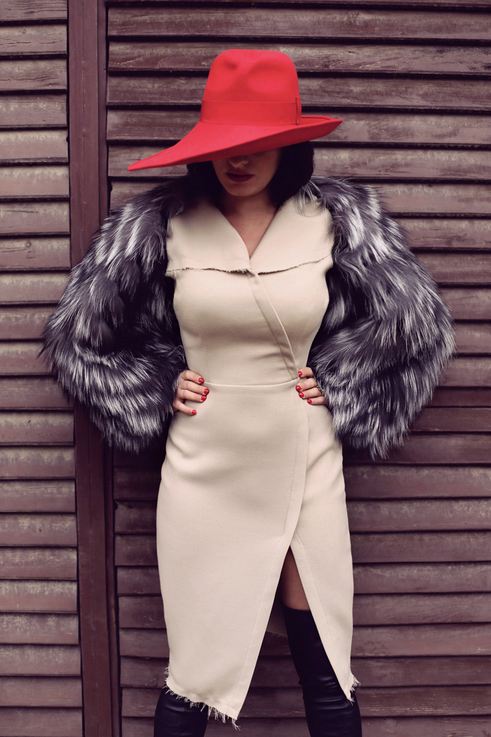 red hat beige dress