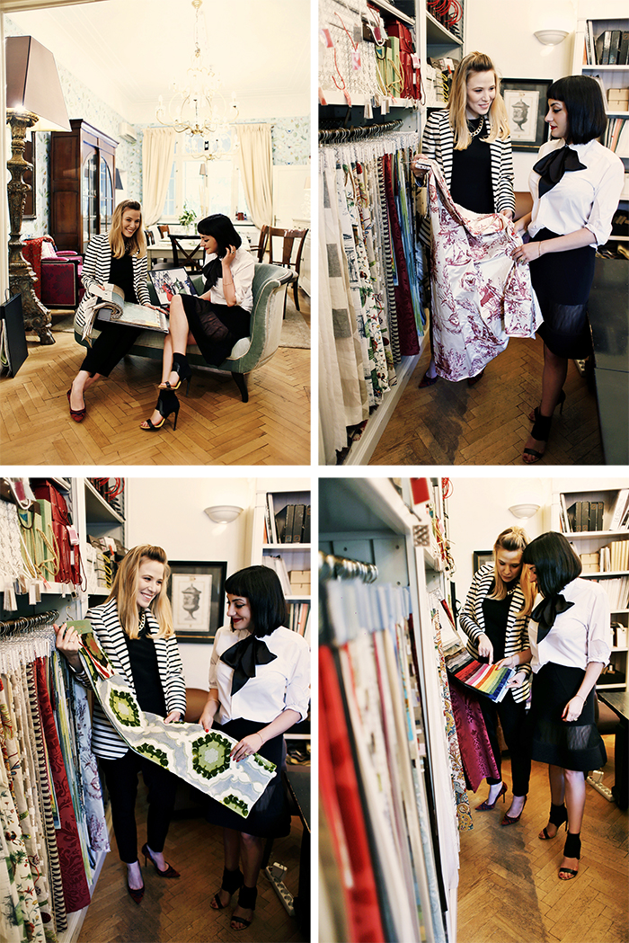 irirna pogonaru and ana choosing fabrics