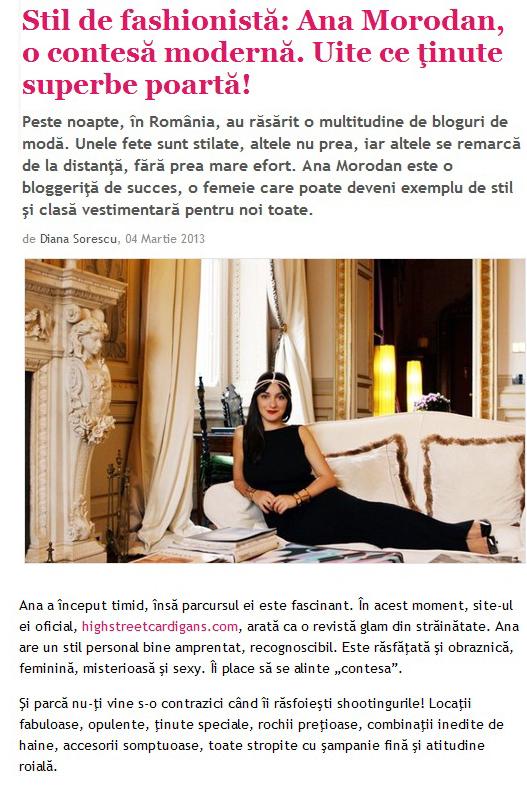 Our Countess Morodan in Unica Magazine